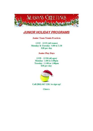 Holiday Junior Programs